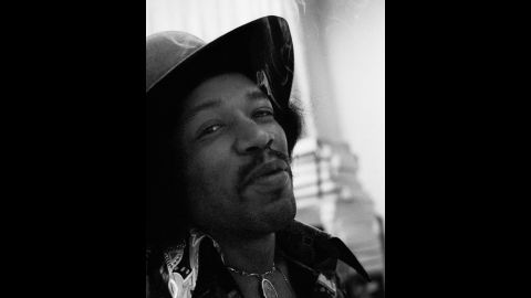 """<strong>Hendrix records """"Electric Ladyland"""" at the Record Plant in 1968:</strong><br />""""Even though Jimi smoked grass he was never too stoned to work diligently and with tremendous focus on the task at hand.  He had just smoked a huge joint and was very happy and gave me a knowing smile, which I call the glint in the eye."""" --<em> Eddie Kramer</em>"""