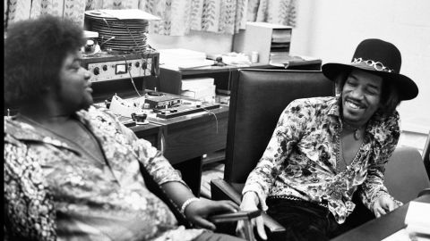 """<strong>Hendrix and Buddy Miles at the Record Plant in New York in 1968:</strong><br />""""Jimi had a longstanding warm relationship with Buddy Miles. In this photo Jimi and Buddy can hardly contain their laughter. One of Jimi's most endearing traits was his amazing sense of humor. Even though it was at times self-deprecating, Mitch (Mitchell), Noel (Redding) and myself were often the butt of his jokes ... all in the desire to keep the sessions loose!"""" --<em> Eddie Kramer</em>"""