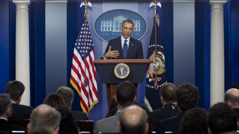 US President Barack Obama speaks to the media about sequestration in the Brady Press Briefing Room at the White House in Washington on March 1, 2013 following a meeting with US Speaker of the House John Boehner and Congressional leaders. Obama summoned congressional leaders but the talks were more for the sake of appearances rather than a deadline day bid to avert a damaging $85 billion in arbitrary budget cuts. Obama was bound by law to initiate the automatic, indiscriminate cuts, which could wound the already fragile economy, cost a million jobs and harm military readiness, in the absence of an deficit-cutting agreement.     AFP PHOTO / Saul LOEB        (Photo credit should read SAUL LOEB/AFP/Getty Images)
