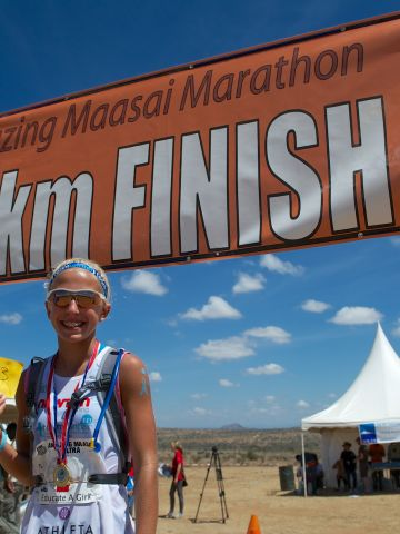 In September, Winter ran the Amazing Maasai Marathon in Laikipia, Kenya.
