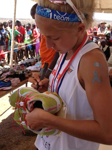 Winter donated her running shoes to a charity drive after the race.