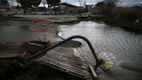 A basketball court in Ortley Beach, New Jersey, fell into a sinkhole caused by Superstorm Sandy in November 2012.