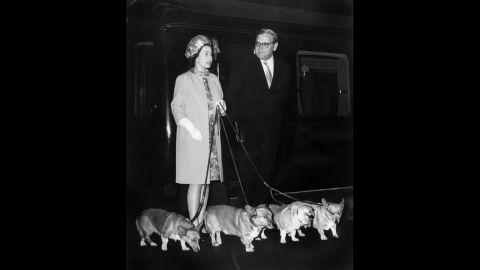Queen Elizabeth II with her corgis in 1969.