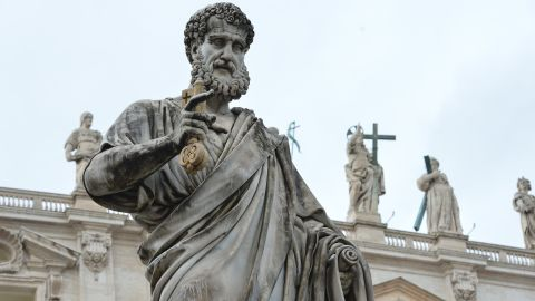 A Statue of St Peter outside St Peter's basilica at the Vatican.