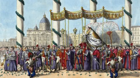The pope is pictured being carried in the Corpus Domini procession around St. Peter's Square in about 1840.