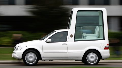 This version of the Popemobile was used in September 2010 during the pope's visit to London, England.