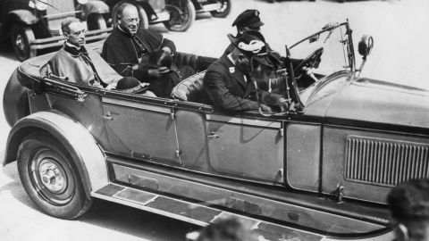 1929: Papal nuncio Eugenio Pacelli, later created Pope Pius XII, arrives at Freiburg in Germany, accompanied by Dr. Sester.