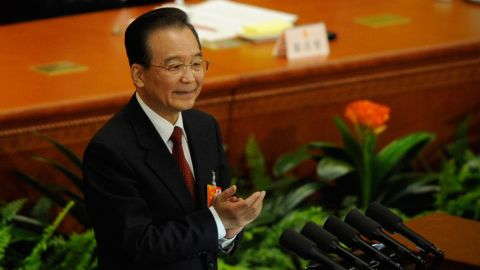 Chinese Premier Wen Jiabao at the Chinese National People's Congress (NPC) in Beijing on March 5, 2013.
