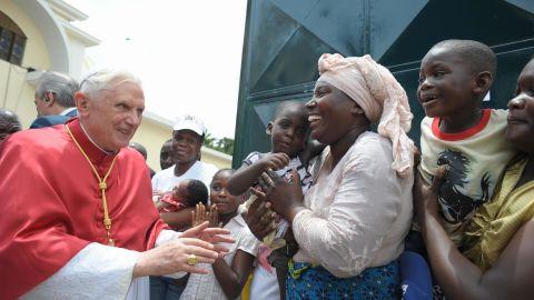 Pope Benedict XVI greeting Catholics during his visit to Luanda, Angola, on March 21, 2009.