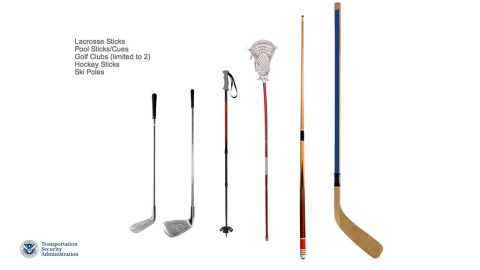 Sports equipment such as ski poles, hockey sticks, lacrosse sticks and two golf clubs will be permitted as carry-on luggage.
