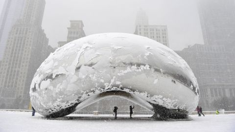 """Chicago had its first snowfall of 6 inches or more since February 2011, leaving the Cloud Gate sculpture, commonly known as """"The Bean,"""" covered in the white stuff on March 5."""