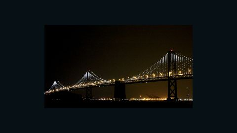 The San Francisco Bay Bridge shows off its new kinetic lighting installation.