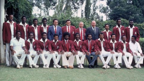 """A photograph of the West Indian players during the first """"rebel tour"""" in Johannesburg in February 1983."""