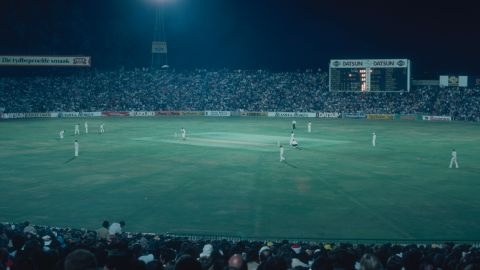 """A night match between the West Indies tourists and South Africa at the Wanderers Club in Johannesburg in February 1983. The 1982-83 tour ended with South Africa winning the one-day series 4-2 while the """"Test"""" series was drawn 1-1."""