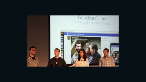 Zuckerberg and members of the Facebook team present the redesigned news feed in Menlo Park, California, on Thursday.