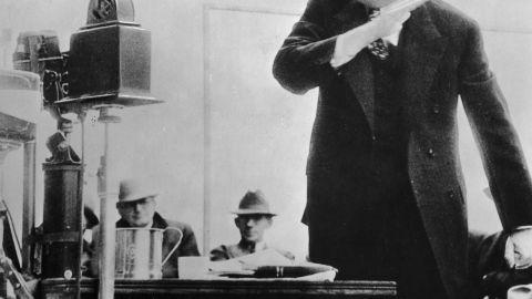 Sen. Huey Long giving a speech in the 1930s.