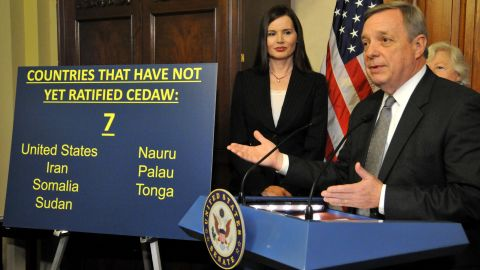 Since Geena Davis and Sen. Dick Durbin made this presentation, Nauru ratified and South Sudan joined those that haven't.