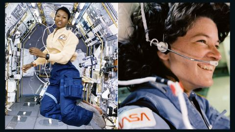 """American physician and former NASA astronaut Mae Carol Jemison, left, became the first black woman to travel in space in 1992.  As an astronaut, Jemison served as a liaison between the astronaut corps and launch operations at Kennedy Space Center, <a href=""""http://www.drmae.com/biography-3-563"""" target=""""_blank"""" target=""""_blank"""">according to her biography</a>. She also flew aboard the Space Shuttle Endeavour  in the first joint mission with the Japanese Space Agency. Fellow astronaut Sally Ride, right, helped pave the way for Jemison's career: In 1983, she flew to space aboard the Space Shuttle Challenger, becoming the first American woman (and, at 32, the youngest American) to enter space. She flew on Challenger again in 1984 and later was the only person to serve on both panels that investigated the nation's space shuttle disasters in 1986 and 2003. Ride<a href=""""http://www.cnn.com/2012/07/23/us/sally-ride-dead""""> died in December 2012</a>."""