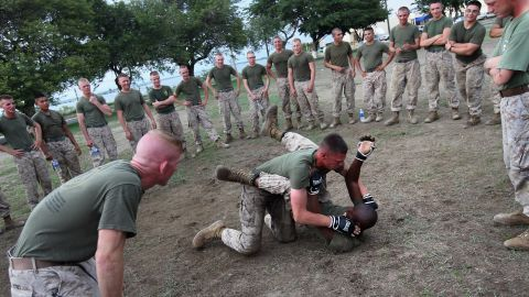 US Marines join in martial-arts training in September 2010.