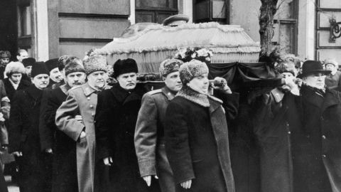 The coffin of Soviet political leader Joseph Stalin, who died in 1953, is carried from the House of Trade Unions in Moscow.