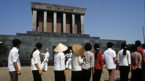 Vietnamese students line up to view the embalmed body of former president Ho Chi Minh at a mausoleum dedicated to him in Hanoi, Vietnam, in 1983.