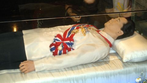 A glass enclosure holds the body of the late Philippines President Ferdinand Marcos in 2005 in Batac, Ilocos norte, Philippines. The late president's widow Imelda Marcos ordered the body of her husband preserved and put on exhibit in a mausoleum.