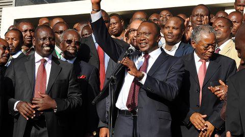 Kenyan presidential candidate Uhuru Kenyatta addresses the crowd after his victory in Kenya's national elections Saturday at Catholic University in Nairobi.