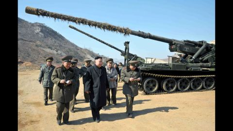 """This undated picture released by North Korea's official Korean Central News Agency on March 12, 2013 shows North Korean leader Kim Jong Un (C) inspecting a long-range artillery sub-unit of Korean People's Army Unit 641 at undisclosed place in North Korea. AFP PHOTO / KCNA via KNS ---EDITORS NOTE--- RESTRICTED TO EDITORIAL USE - MANDATORY CREDIT """"AFP PHOTO / KCNA VIA KNS"""" - NO MARKETING NO ADVERTISING CAMPAIGNS - DISTRIBUTED AS A SERVICE TO CLIENTSKNS/AFP/Getty Images"""