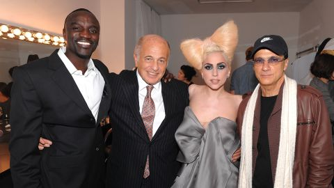 """In 2007 Lady Gaga was signed by Akon and Interscope Records before the release of her 2008 debut album, """"The Fame.""""<br />Pictured: Akon, Doug Morris (chairman and CEO of UMG), Lady Gaga and Jimmy Iovine (chairman of Interscope Geffen A&M), in December 2009, New York. <br />"""