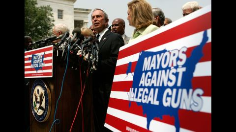 Bloomberg holds a news conference on gun control in July 2007 on Capitol Hill in Washington, where he traveled to lobby against the Tiahrt Amendments, measures that regulate access to gun-tracing data.