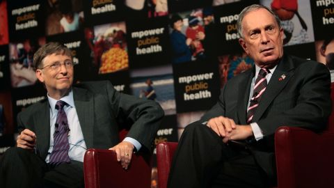 """Microsoft co-founder Bill Gates and Bloomberg take questions at a news conference announcing their charitable support for a new global anti-smoking initiative in July 2008. Gates and Bloomberg announced their combined contribution of half a billion dollars to combat global smoking. <a href=""""http://www.cnn.com/2012/05/31/health/gallery/bloomberg-health-initiatives"""" target=""""_blank"""">See more on Bloomberg's controversial health bans</a>"""