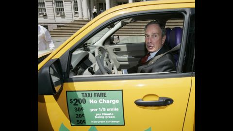 """Bloomberg sits in a Ford Escape hybrid taxicab donated by Yahoo after he announced in May 2007 that the city's taxi fleet would be fully hybrid by 2012. The plan fell through after judges ruled in 2008 that the city couldn't penalize taxi drivers who didn't use hybrid cars, according to The <a href=""""http://cityroom.blogs.nytimes.com/2008/10/31/judge-blocks-hybrid-taxi-requirement/?gwh=87B27602188FCD143F612C0D9B43B4CC"""" target=""""_blank"""" target=""""_blank"""">New York Times</a>."""