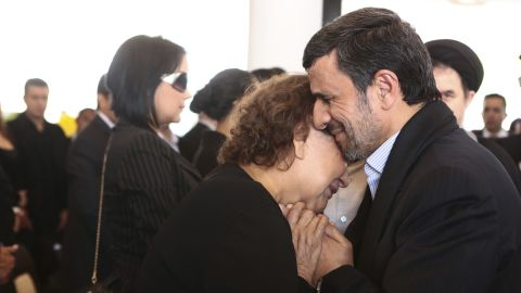"""Image #: 21521697    Iran's President Mahmoud Ahmadinejad (R) offers his condolences to Elena Frias, mother of Venezuela's late President Hugo Chavez, during the funeral service at the Military Academy in Caracas March 8, 2013, in this picture provided by the Miraflores Palace. Chavez will be embalmed and put on display """"for eternity"""" at a military museum after a state funeral and an extended period of lying in state, acting President Nicolas Maduro said on Thursday. REUTERS/Miraflores Palace/Handout (VENEZUELA - Tags: POLITICS OBITUARY TPX IMAGES OF THE DAY)       REUTERS /HANDOUT /LANDOV"""