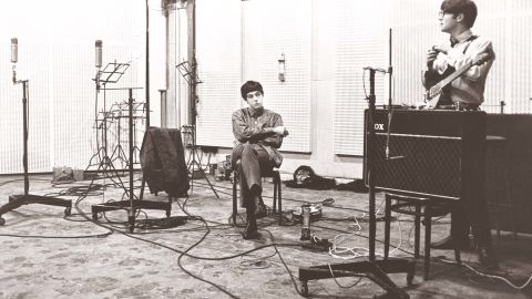 """Paul McCartney and John Lennon are recording """"With the Beatles,"""" their second studio album, in 1963 at Abbey Road Studios in northwest London. Other bands to have recorded at the legendary studios, which opened in 1931, include Pink Floyd, Mick Jagger, Oasis and Blur."""