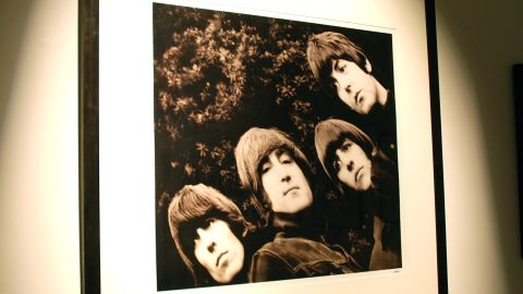 """This photo became the album cover of """"Rubber Soul."""" It was groundbreaking because it was their first sleeve to not feature their name. Only two editions of this print were ever made. The one pictured, AP1, is the most expensive print on sale at Snap Galleries in London, priced at $45,000 (£30,000)."""