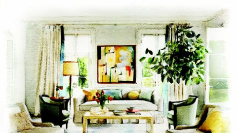 This room, designed by Barbara Barry, has traditional style.