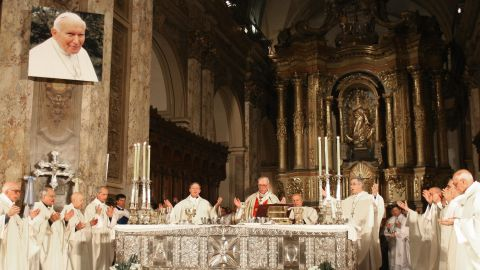 Cardinal Bergoglio, center, officiates a Holy Mass for the eternal rest of Pope John Paul II on April 5, 2005, at Buenos Aires' Metropolitan Cathedral.