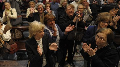 The faithful celebrate at the Metropolitan Cathedral in Buenos Aires.