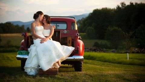 """Most traditional poses in wedding photography were designed with a man and woman in mind and don't always work for same-sex couples. That's the premise behind """"<a href=""""http://www.capturingloveguide.com/"""" target=""""_blank"""" target=""""_blank"""">Capturing Love: The Art of Lesbian & Gay Wedding Photography</a>."""" The photo book aims to help photographers and couples find their own solutions for tweaking the classics by taking into account factors like physicality, composition and relationship dynamics."""