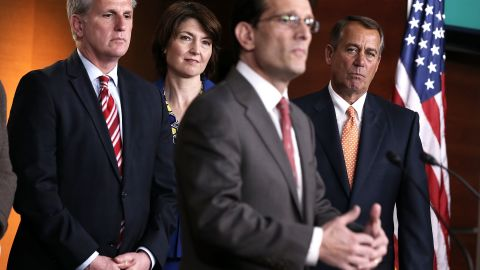 U.S. House Majority Leader Rep. Eric Cantor (R-VA) speaks during a news conference after a meeting between President Barack Obama and the House Republican Conference at the U.S. Capitol on March 13, 2013.
