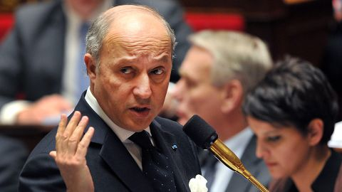 French Minister of Foreign Affairs Laurent Fabius addresses members of Parliament on Tuesday in Paris.