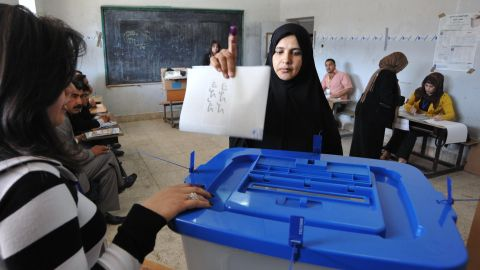 An Iraqi woman votes in parliamentary elections in Kirkuk on March 7, 2010.