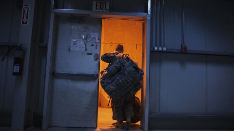 A U.S. soldier prepares to fly out of the Sather Air Base in Baghdad on December 15, 2011. The last U.S. forces left Iraq and entered Kuwait on December 18, nearly nine years after launching a divisive war to oust Saddam Hussein.