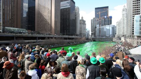 """<a href=""""http://chicagoist.com/2012/03/16/how_the_chicago_river_was_dyed_gree.php#photo-1"""" target=""""_blank"""" target=""""_blank"""">Chicago began dyeing its river green</a> to celebrate St. Patrick's Day in 1964. Today, it uses food coloring, which is environmentally safe, to turn the river green. The White House -- and many community centers across the country -- will dye the water in their fountains green to commemorate the holiday."""