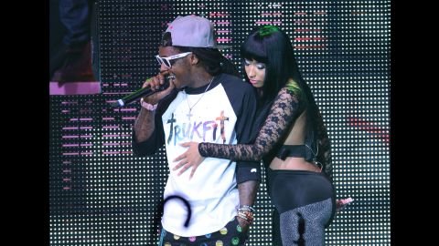 Lil Wayne and Nicki Minaj perform during Minaj's Pink Friday Tour at Roseland in New York on August 14, 2012,