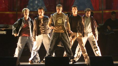 """The band 'N Sync performs at the 2000 MTV Movie Awards. """"No Strings Attached"""" finished as the best-selling album of 2000. The song """"Bye Bye Bye"""" was nominated for Song of the Year at the Grammy Awards."""
