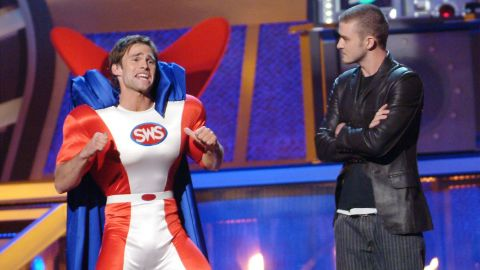 By 2002, 'N Sync went on hiatus. Then Timberlake launched the solo career that would define his next decade. Here, he hosts the 2003 MTV Movie Awards with Seann William Scott.