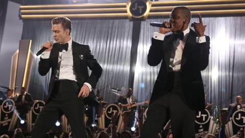 """Timberlake and Jay-Z perform """"Suit & Tie"""" at the 2013 Grammy Awards. Timberlake's album """"The 20/20 Experience"""" was a big seller in 2013, and he also released a second volume, """"The 20/20 Experience - 2 of 2."""""""