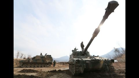 South Korean Marines operate K-55 self-propelled howitzers on the western island of Ganghwa near the disputed maritime frontier with North Korea on Wednesday, March 13.