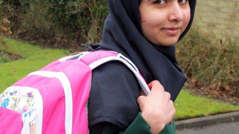 "Malala returns to school at Edgbaston High School for Girls in Birmingham, England, on March 19, 2013. She said she had ""achieved her dream."""